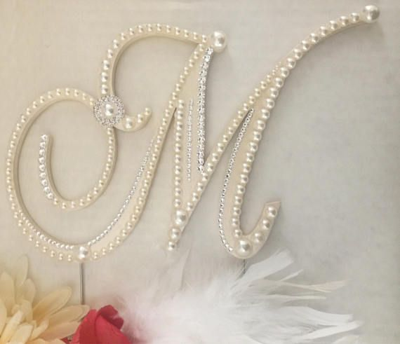 Pearl Cake Topper Wedding Cake Topper Monogram Cake Topper
