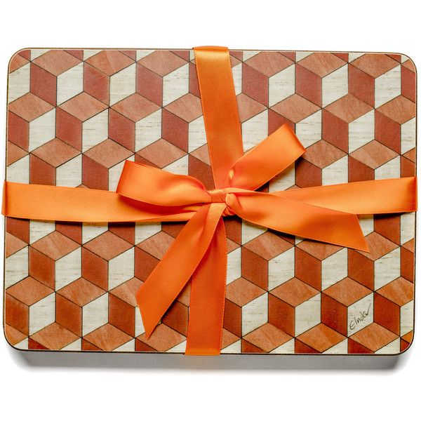 4 Place mats Terra Cotta Tablemats Geometric Place Mats Art Deco Table... ($42) ❤ liked on Polyvore featuring home, kitchen & dining, table linens, rectangular placemats, colored placemats, orange table mats, heat-resistant placemats and orange place mats