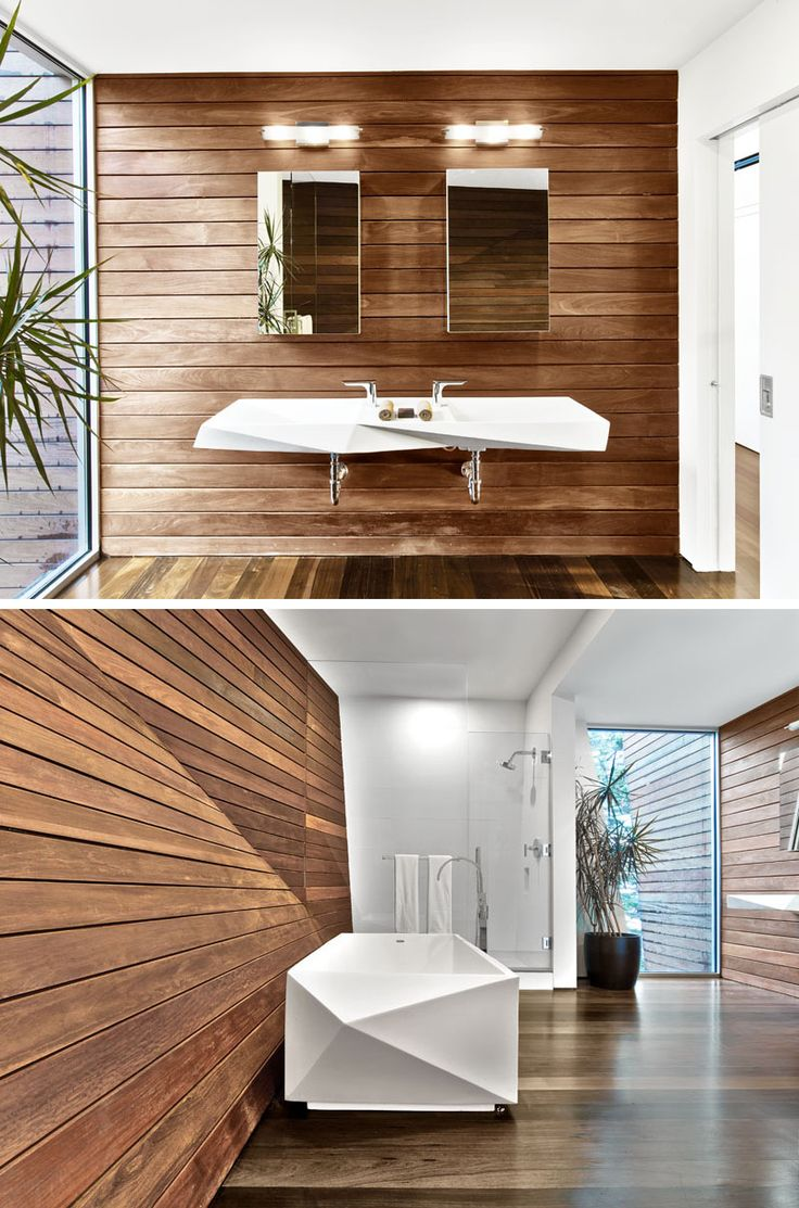 This master bathroom has been designed to be warm and intimate with an almost Swedish sauna-like appearance, with the jewel-like Crystalline Bath tub and sink faceted to mimic the overall design of the space.