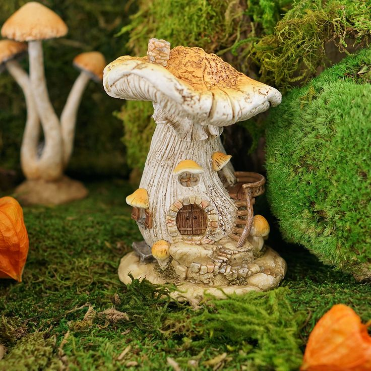 Miniature Fairy Garden White Mushroom Fairy House