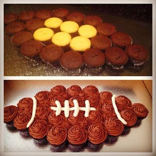 Follow Chef Delainey for more fun and yummy ideas - watch her videos on youtube - Football Cupcake Cake :)