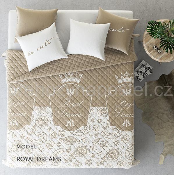 Prošívaný přehoz na manželskou postel světle hnědé barvy