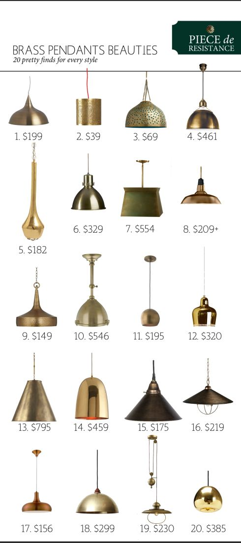 Brass Pendant Beauties: 20 Different Beautiful Light Fixtures | www.theanatomyofdesign.com