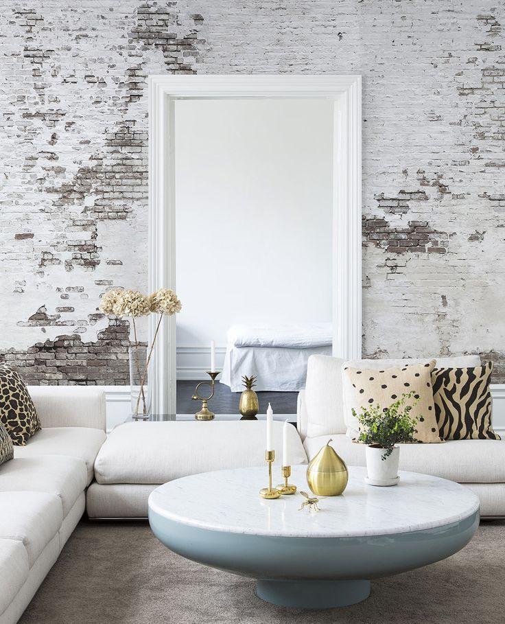 Industrial Ivory Wandgestaltung Wohnzimmer Tapete Wandgestaltung Tapete Backstein Tapete