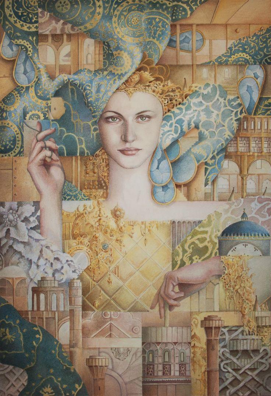 ' Weaving Through a Timeless Shifting Story' by Carolin Leary Prinn. www.carolinprinn.com #illustration #fantasy #painting #surrealism #watercolour #fineart #drawing #art #fairytale #carolinprinn @niljora