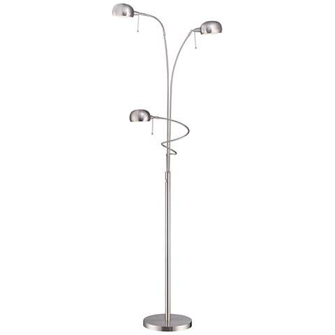 Lite Source Denzel Steel 3-Light Reading Arc Floor Lamp - #1N832 | Lamps Plus