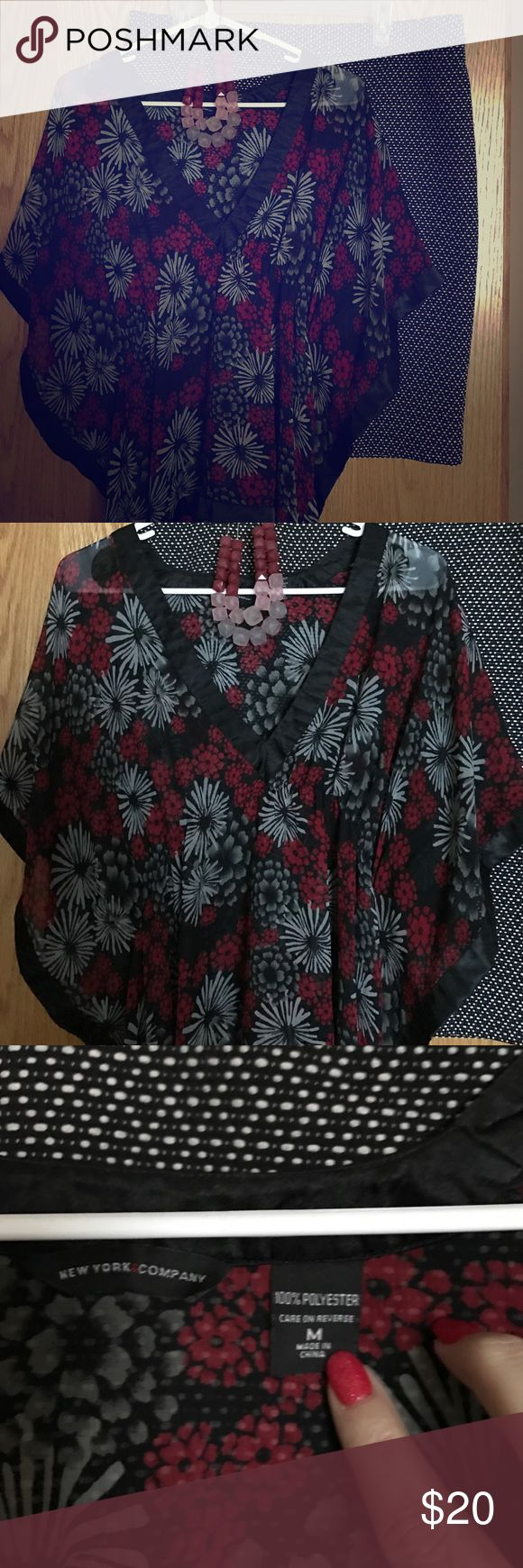 New York & Co Batwing sheer Floral top Beautiful sheer top EUC no pulls that I can find. V neck that has a satin trim detail on neck, sleeves and all hems. Skirt for sale in other listing bundle and save! New York & Company Tops Blouses