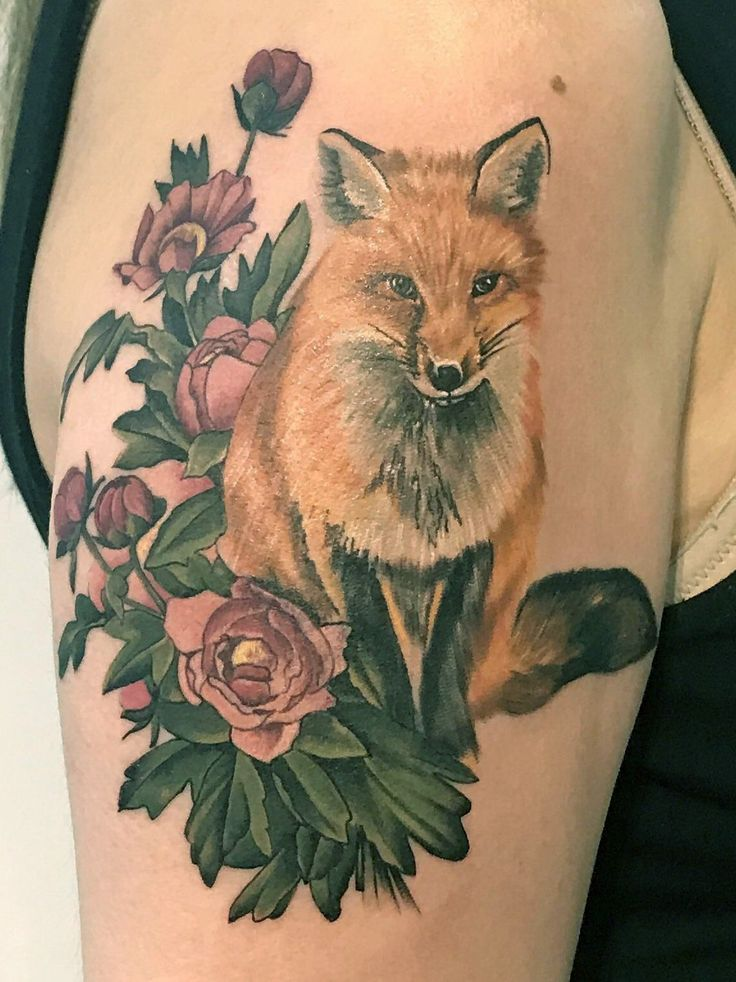 Fox and Flowers by Dia Moeller at Boston Tattoo Company in Medford, MA