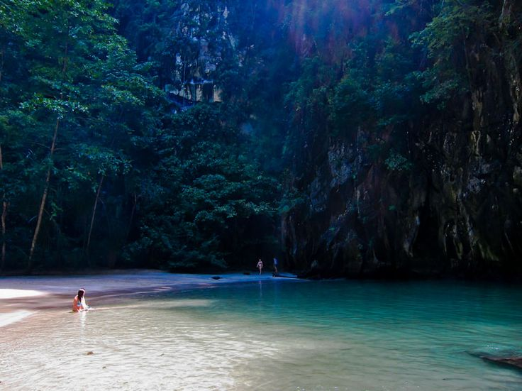emerald cave, koh muk, thailand. Swim through a cave at low tide to find this sequestered beach