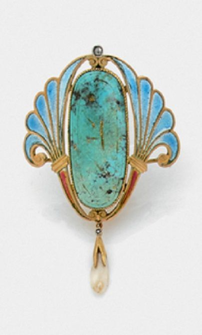 Art Nouveau enamel, turquoise and pearl brooch