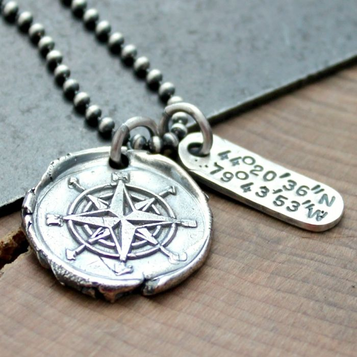 This handcrafted fine silver wax seal compass necklace includes custom coordinates to your special location. This is a men's or woman's compass and coordinates necklace and would make a beautiful gift to mark a special spot to remember forever.