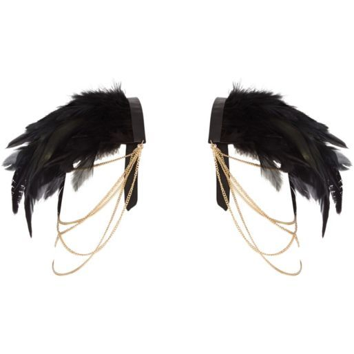 Black feather shoulder pads pack - body jewellery / capes - jewellery - women