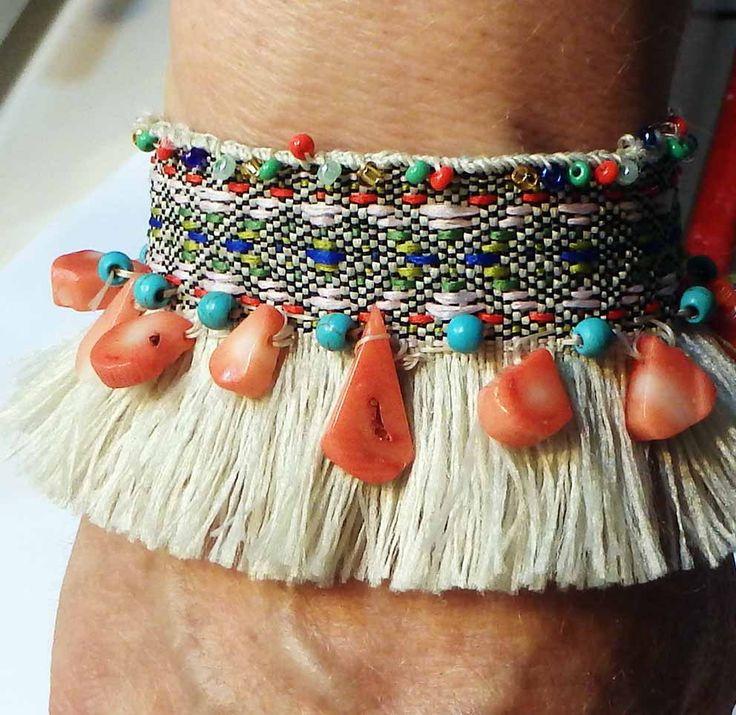 Braid bracelet tassel boho with coral briolette and seed bids by SofiannasBracelets on Etsy