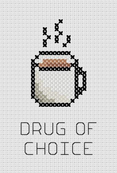 Coffee: Drug of Choice Printable Cross Stitch Pattern Printable (PDF)