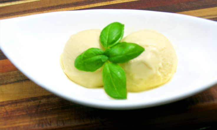 Basil Olive Oil Ice Cream.    Want to win the olive oil used in this recipe? Check out https://www.facebook.com/sallyjoseph.nutritionandwellbeing/app_522008621164365
