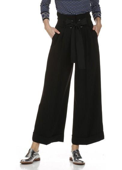 Pantalon large à plis et revers Noir by TARA JARMON                                                                                                                                                                                 Plus