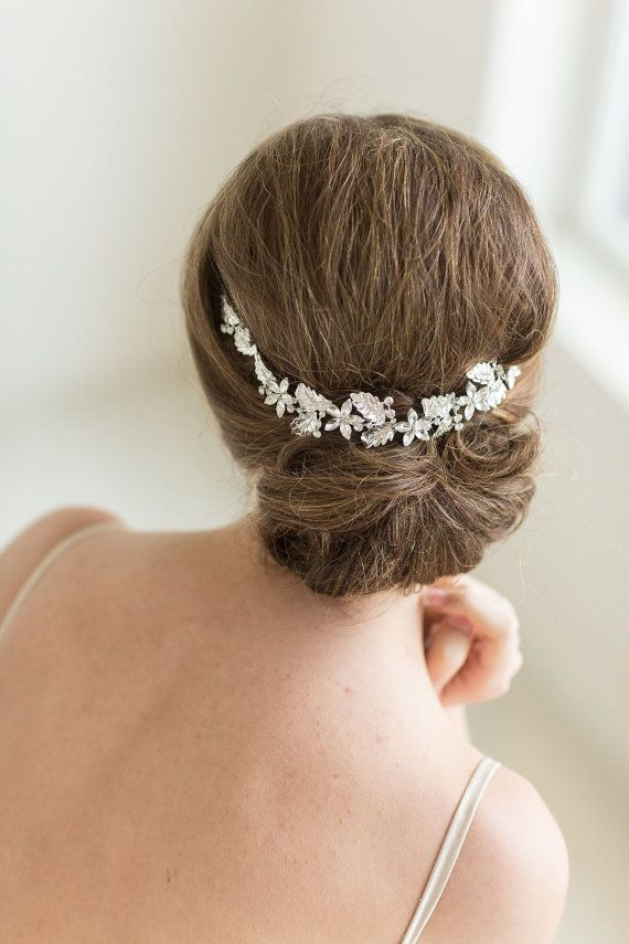 Crystal Vine Headpiece, Wedding Headband, Bridal Rhinestone Headband, Ribbon Headband