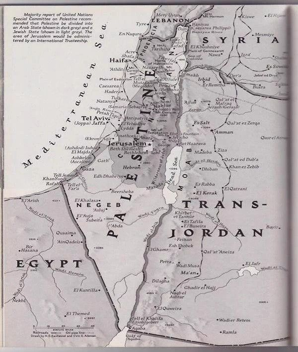 Mаp of Palestine from a 1947 issue of National Geographic.