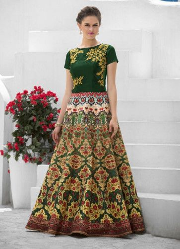 Bottle #Green #Printed #Party Wear #Gown