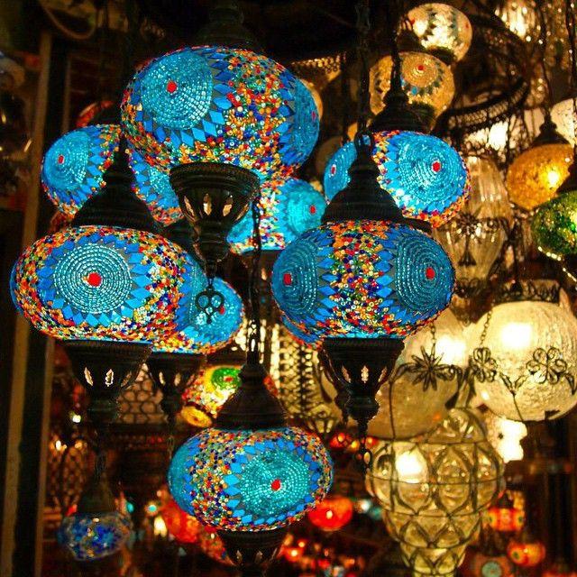 Colorful lanterns hand in Istanbul's Grand Bazaar. Photo courtesy of dangerousbiz on Instagram.