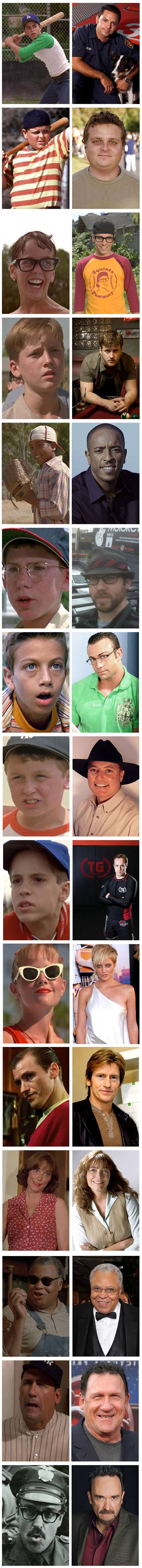 The Sandlot: Then and Now. Wow, Squints is the cutest grown-up of them all! My favorite movie as a kid!