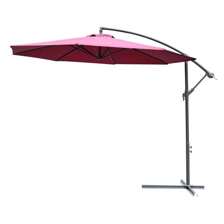 3M Cantilever Red Umbrella Hanging Outdoor Patio Parasol Pool Sun Shade Canopy