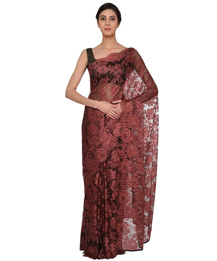 Rose Vale- Grey French Chantilly Lace Saree With Satin Crepe Blouse