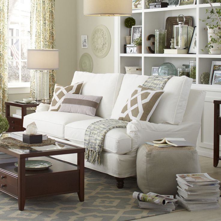 Birch Lane Montgomery Slipcovered Sofa - The slipcovered Montgomery sofa pairs welted, blended down seat cushions with classic Charles of London-style arms and turned legs for a casual-meets-formal look.