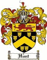 Hunt Coat of Arms / Hunt Family Crest.  Thomas Belcher m. Deborah Hunt, dau. of Samuel Hunt b. 1552 Ward End, Warwickshire, England.