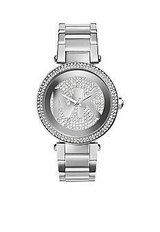 Michael Kors Women's Mid-Size Silver Tone Stainless Steel Parker Logo Three-Hand Glitz Watch