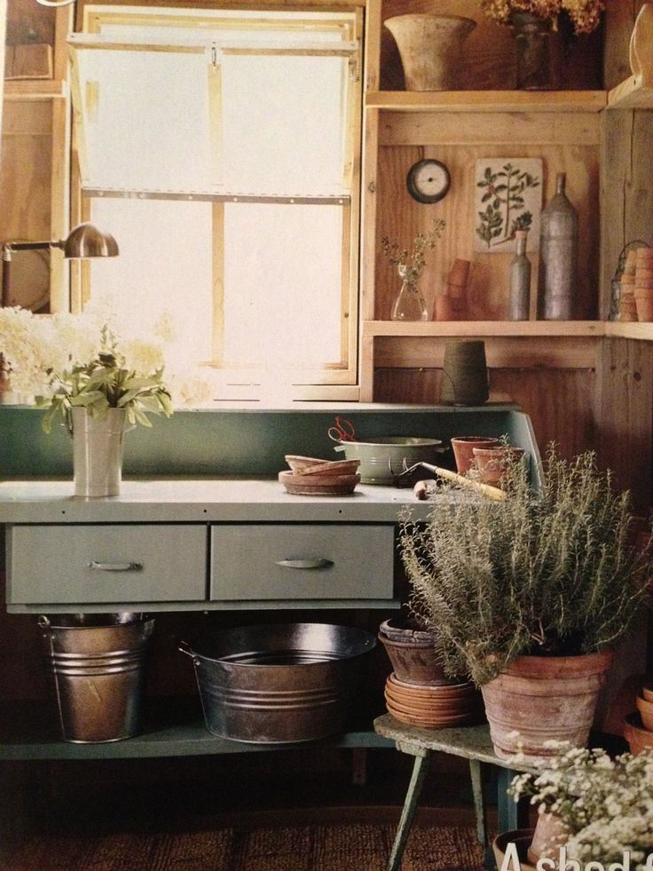 Plywood-chic country potting shed
