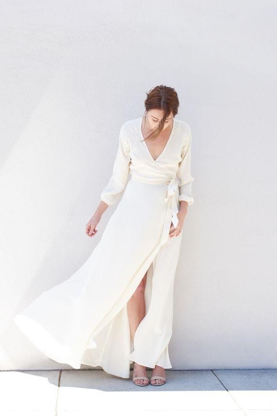 Kamperett Linden Silk Wrap Dress | Ivory