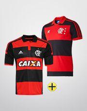 Camisa Adidas Flamengo I 14/15 + Camisa Retrô - Vermelho+Preto