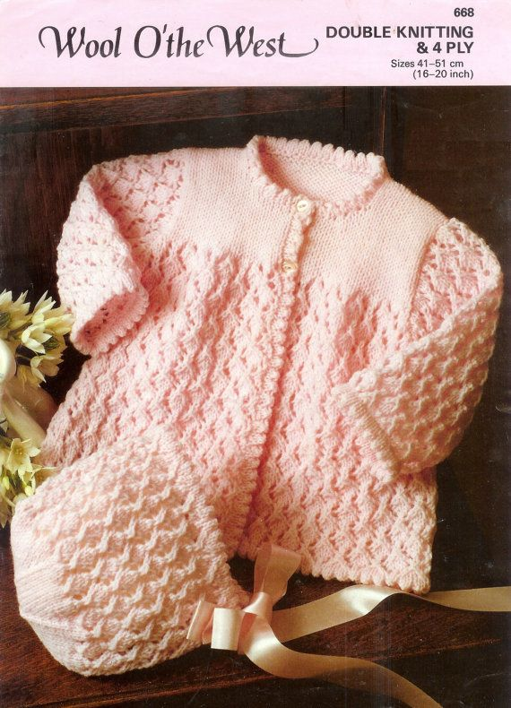 Baby  DK & 4ply Matinee Jacket and bonnet Sizes 16 to 20 ins - Wool o West 688 -  PDF of Vintage Knitting Patterns - Instant Download