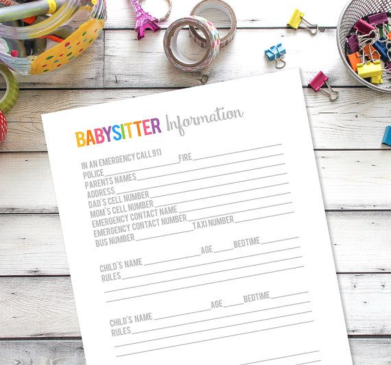 Más de 25 ideas fantásticas sobre Babysitter Notes en Pinterest - information sheet template