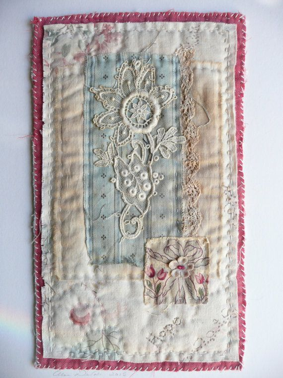 Hello, my name is Ellen. I have always been an artist and maker with a love of old and worn textiles and artefacts. I only use vintage or antique fabrics, which often show wear and evidence of a previous life which I will often emphasise, and in that way combine the new work of my hands with that of the previous owners. Each piece that I make is unique, and will not be replicated, so you can be assured that you are purchasing a completely handmade, original piece of textile artwork. I stitch…