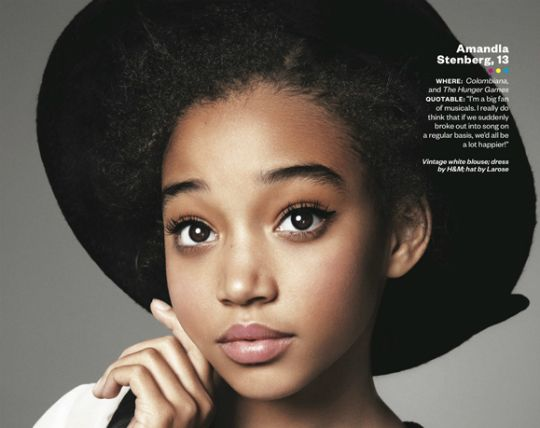 the girl from Hunger Games (rue:amandla stenberg age 13)