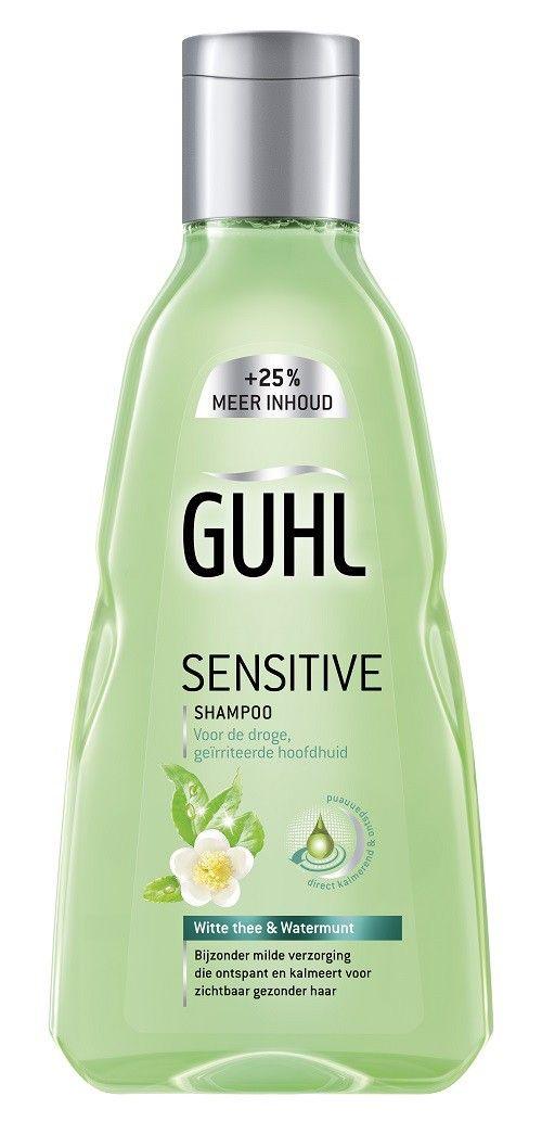 Guhl Shampoo Sensitive 250ml  Guhl Sensitive Shampoo met Witte Thee en Watermunt verzacht en vermindert irritatie kalmeert en ontspant de hoofdhuid.  EUR 6.99  Meer informatie  #drogist