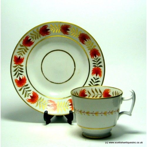 Coalport Coffee Cup And Saucer C1825 Typical London Shape Bowl With A French Handle Which Has