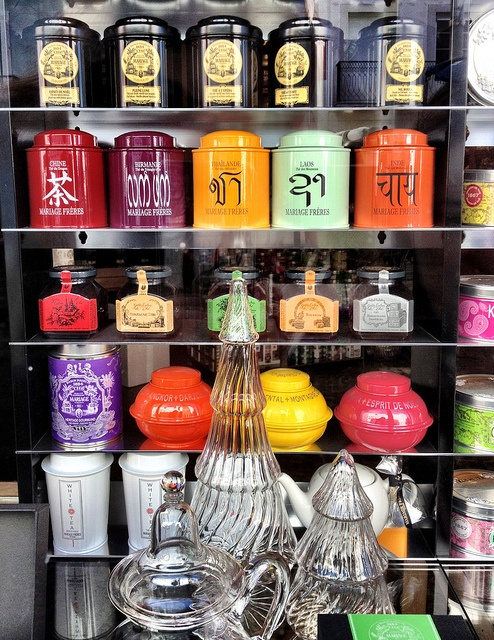 Tea shop Window - want all of those tins!