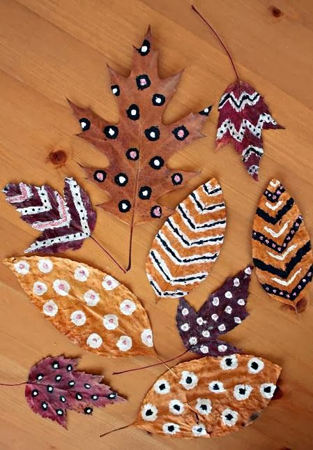 painted leaves, diy, home decor, autumn