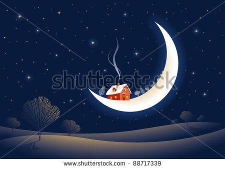 Christmas moonlit night. Vector