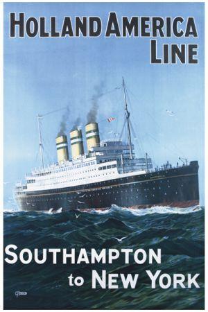 South Hampton to New York Vintage Ship Giclee Art Print