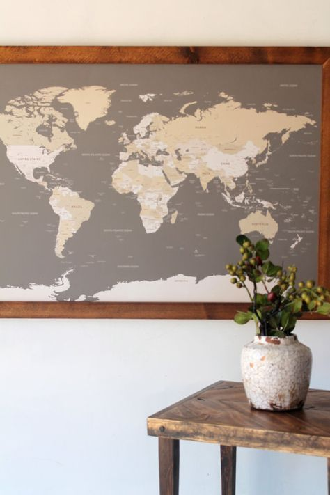 Track your travels and dream up that next adventure with our handcrafted World Map with pins. A beautiful and meaningful piece for your modern home, office, or studio. DETAILS • Our original world map