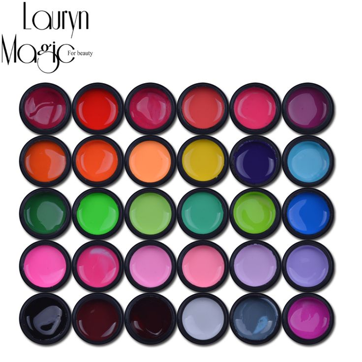 High Quality Hot Sale 30 Pure Mix Colors Pots UV Gel Nail Art Tips DIY Decoration for Nail Manicure UV Gel