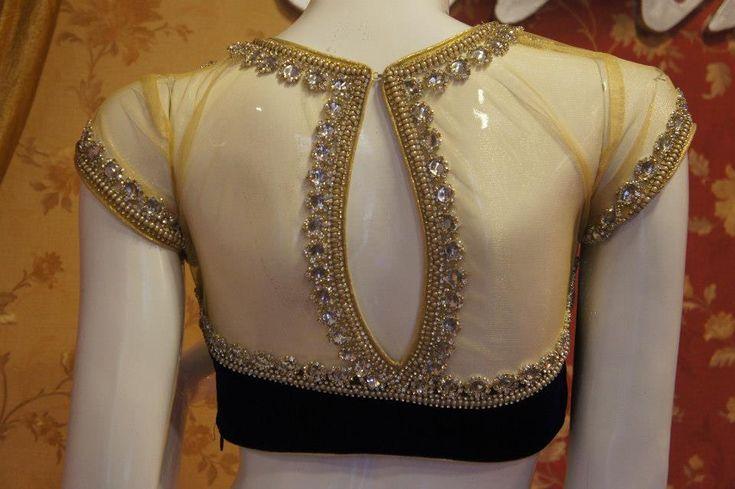 Sheer bejeweled saree blouse/choli