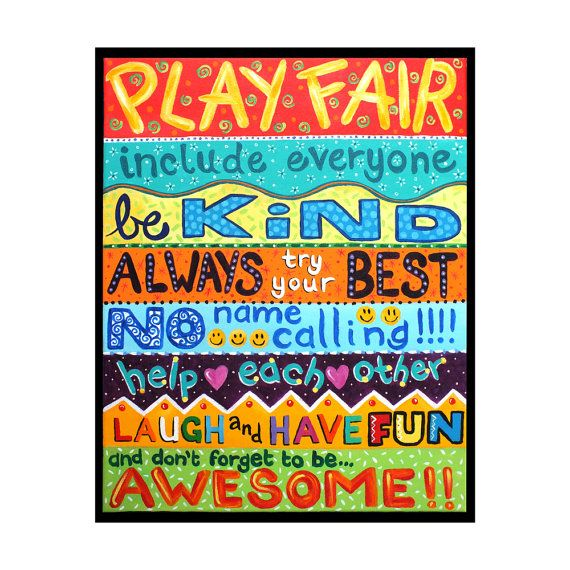 Classroom Rules Decor : Playroom rules wall art for children print