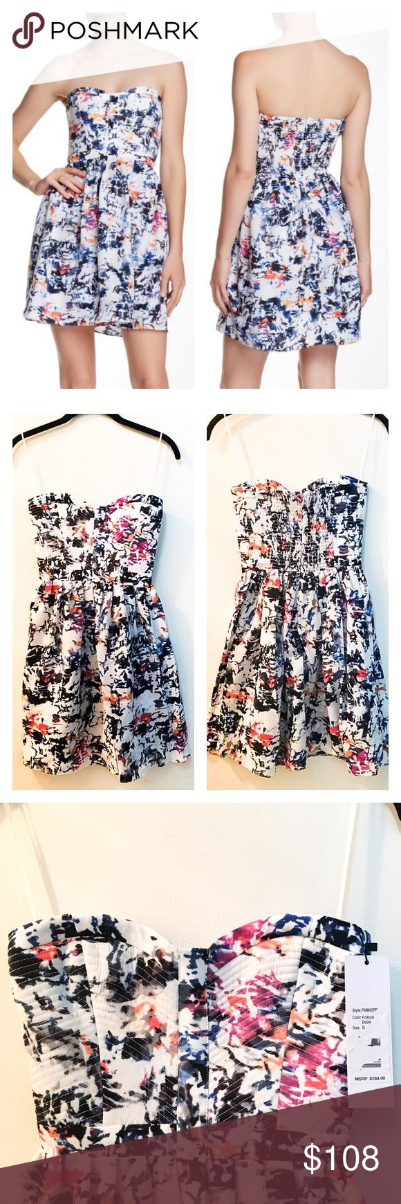 55% OFF! Parker Party Strapless Bustier Dress Reasonable offers welcome. Same or next day shipping. Brand new with tags! Stunning, flirty bustier party dress from Parker. Silky feel, beautiful print and stretch back for the perfect fit. 🎉 Size small, could also likely fit XS (the stretchy back makes this dress super versatile!). - Sweetheart neck - Strapless - Banded waist - Smocked back - Hidden back zip - Boned side and lightly structured fused front bodice - Knife pleated skirt - Allover…