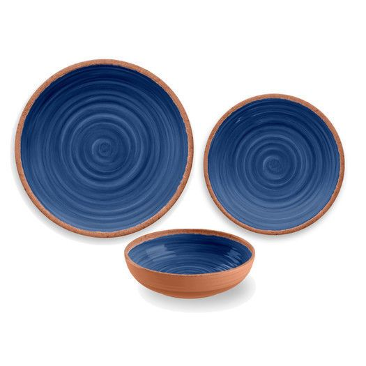 Rustic Swirl 12 Piece Melamine Dinnerware Set in Green by TarHong #TarHong