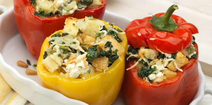 Spinach and Goat Cheese Stuffed Peppers (cut peppers, crumble goat cheese, add parm, spinach, and 1 caramelized/chopped onion, season a d bake 35 min at 350)